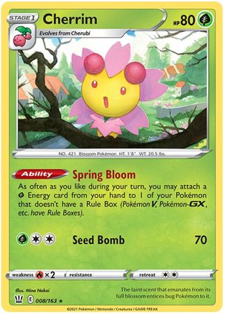 Pokemon Card Battle Styles 008/163 8/163 Cherrim Holo Rare
