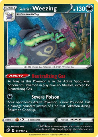 113/192 Galarian Weezing Rebel Clash (RCL) Holo Rare