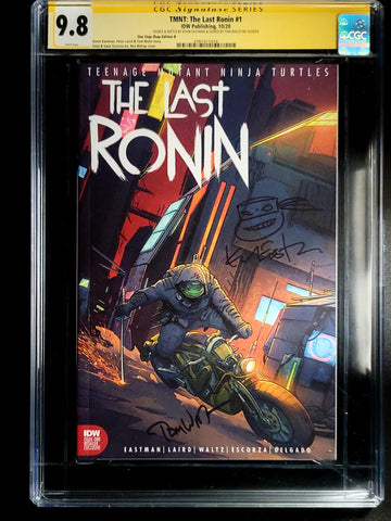 Teenage Mutant Ninja Turtles The Last Ronin #1 CGC SS 9.8 Ben Bishop Cover signed by Waltz Signed and Sketch by Eastman Mattina Virgin Cover
