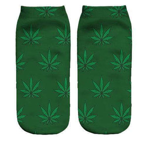 Weed pattern Printed ankle socks - DopeSoxOfficial