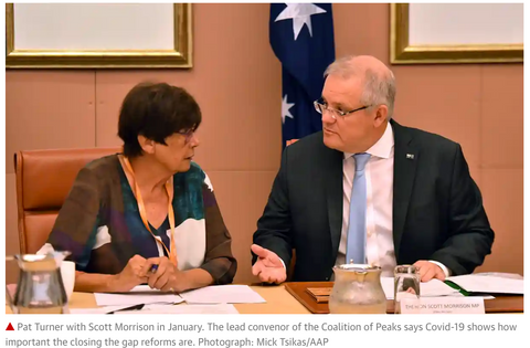 Pat Turner with Scott Morrison in January. The lead convenor of the Coalition of Peaks says Covid-19 shows how important the closing the gap reforms are. Photograph: Mick Tsikas/AAP