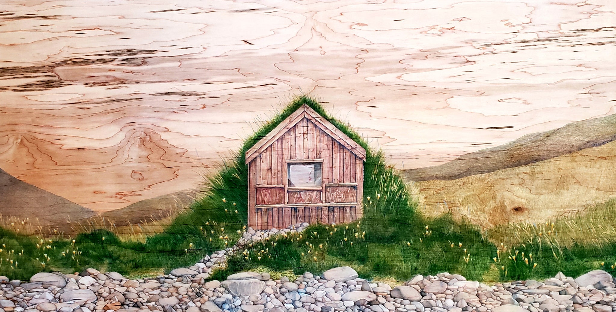 Icelandic Turf House Gicle Paper Prints