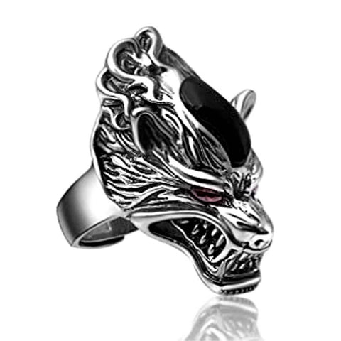 Bague Loup<br> Obsidienne - Loup-Faction