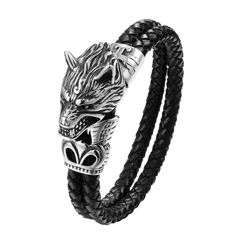 Bracelet Loup<br> Chinois (Cuir) - Loup-Faction