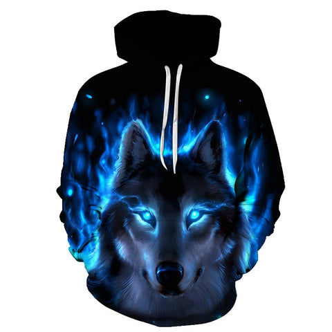 Pull Loup<br> Flamme Bleu - Loup-Faction