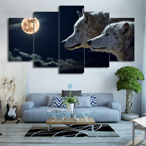Tableau Loup<br> Lune Orange - Loup-Faction
