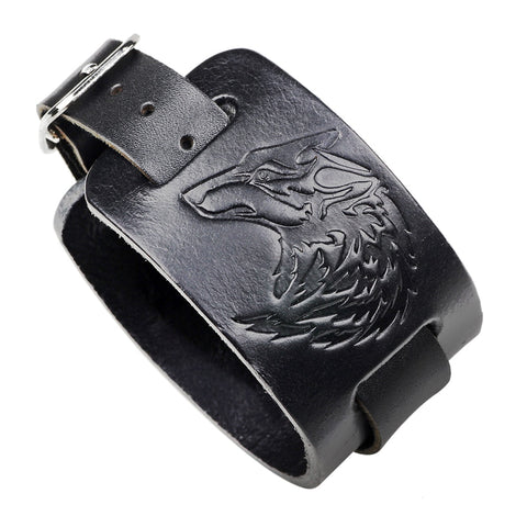 Bracelet Loup<br> Rock (Cuir) - Loup-Faction