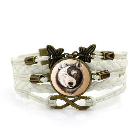 Bracelet Loup<br> Papillon (Cuir) - Loup-Faction
