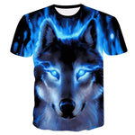 T-Shirt Loup<br> Flamme Bleu - Loup-Faction