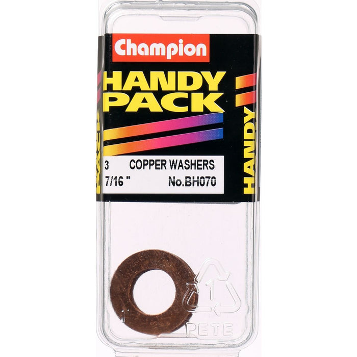 "Washers Copper 7/16"" x 13/16"" x 20G BH070 - Port Kennedy Auto Parts & Batteries"