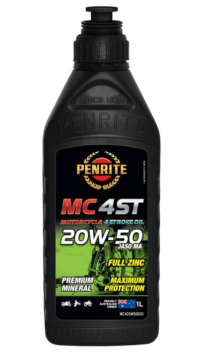 Oil Motorcycle 4 Stroke Penrite MC-4 Mineral 20W-50 1L MC420W500001 - Port Kennedy Auto Parts & Batteries