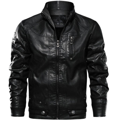 Motor-Spartan Leather Jacket Jacket Lansiari Black XS