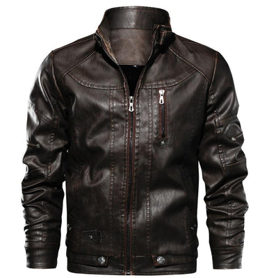 Motor-Spartan Leather Jacket Jacket Lansiari Dark Brown XS