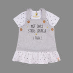Baby Girls Grey Dungaree Dress Set - Organic cotton