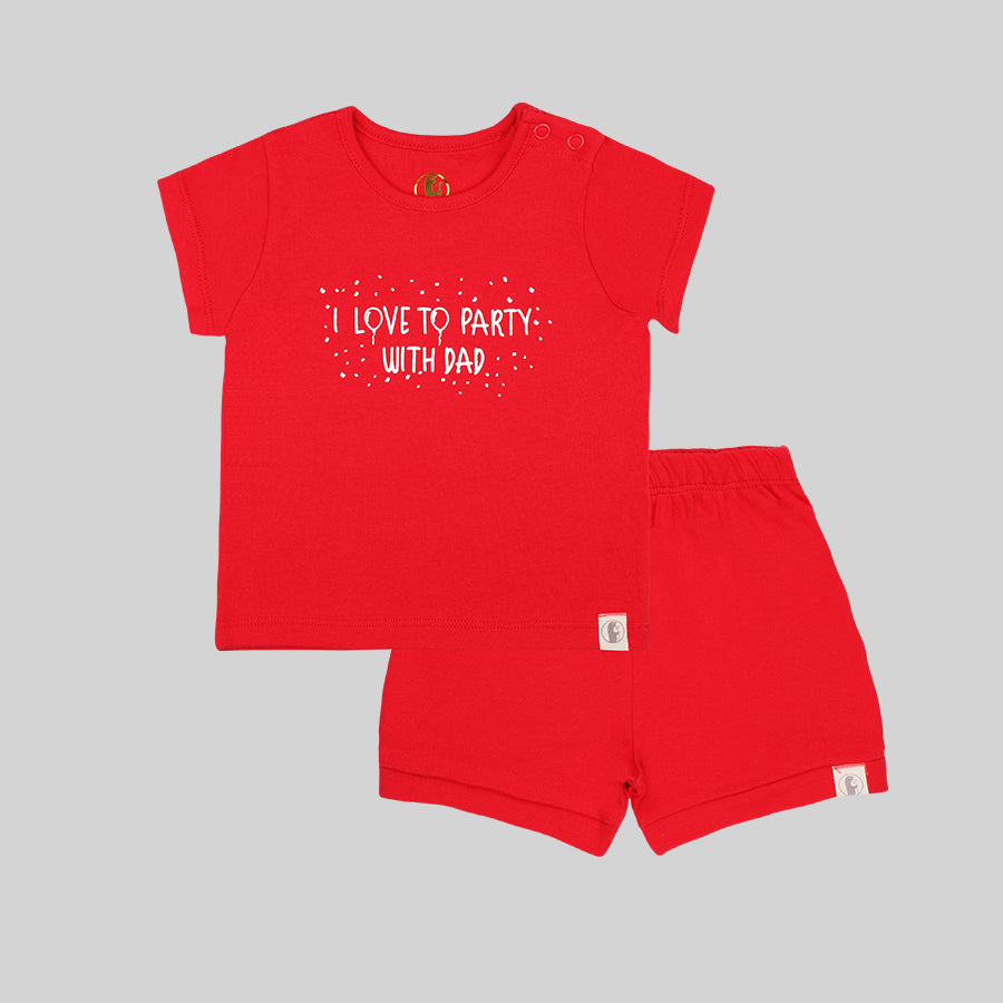 Baby girls shorty Set (Red) - Organic cotton