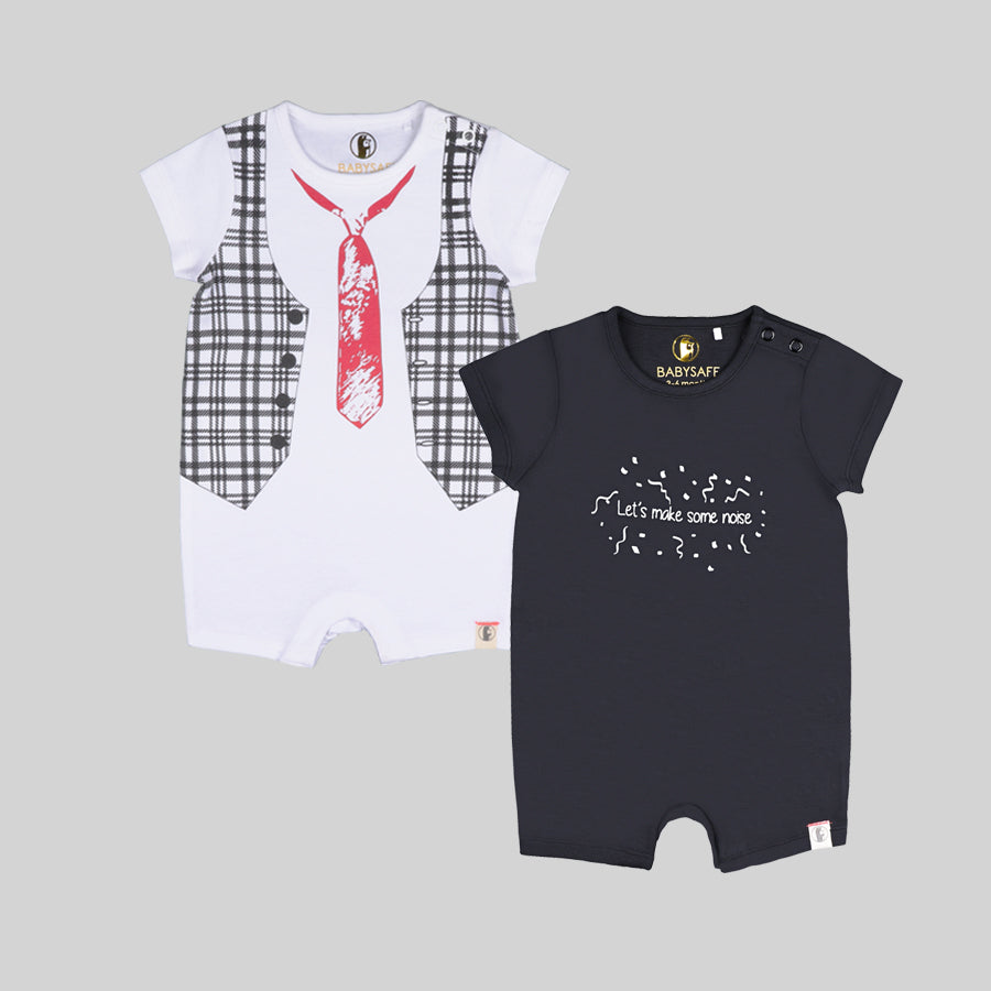 Boys 2 Pack Romper Suits - Organic cotton