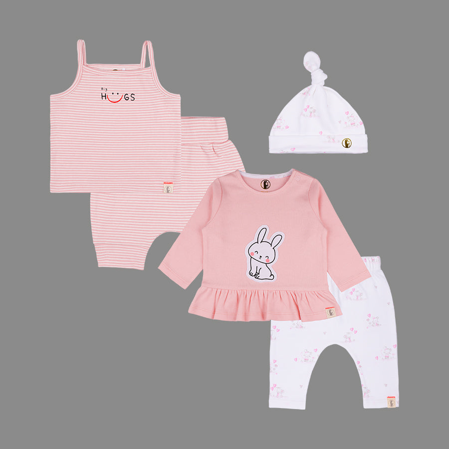 Baby Girls 5 Piece Bunny set - Organic cotton