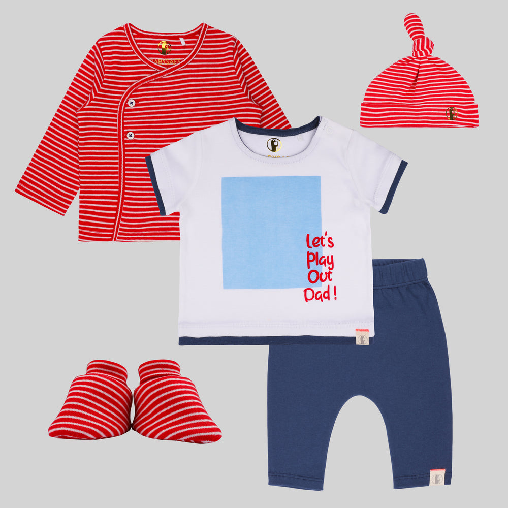Baby Boy 5 piece Playful Set - Organic cotton