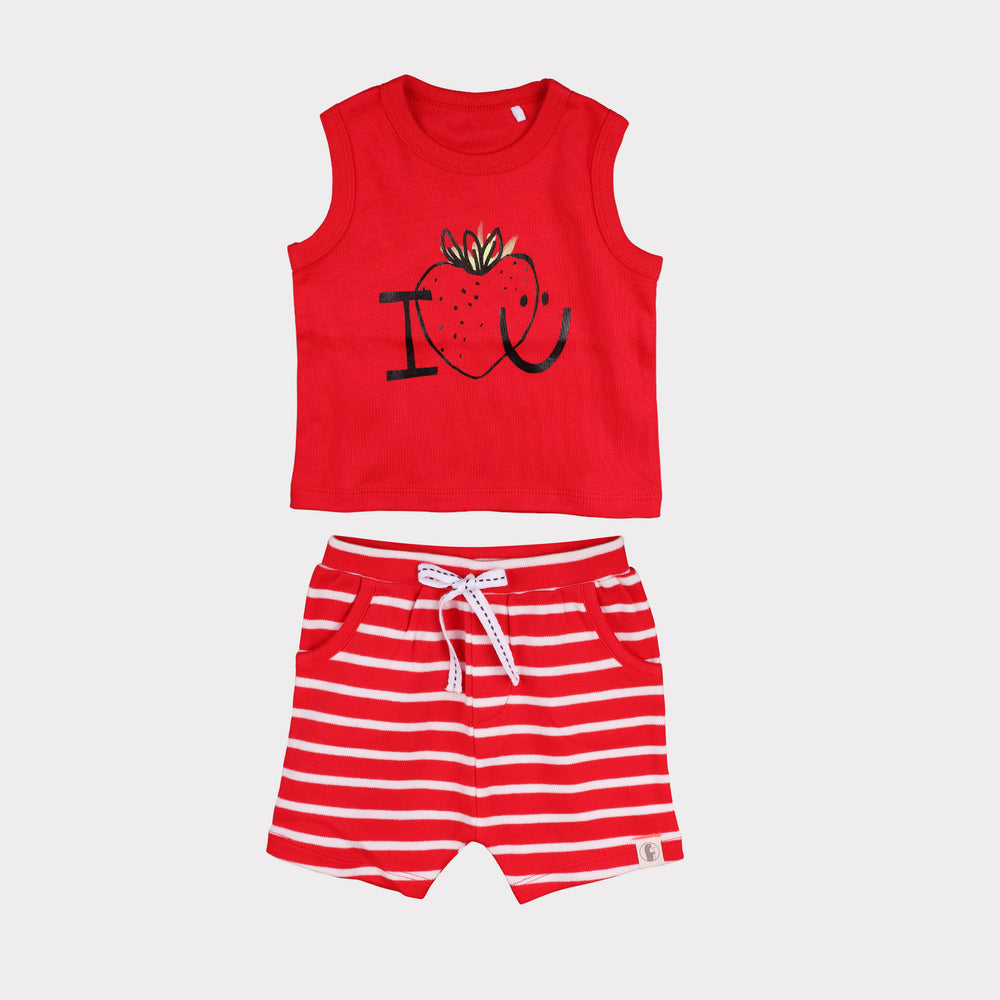 Baby Boy shorty Set (Red) - Organic cotton