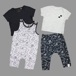 Baby Boys 2 pack Dino printed tees & Dungaree set Combo