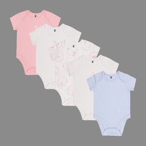 Baby Girls 5 Pack Bodysuits - Organic cotton