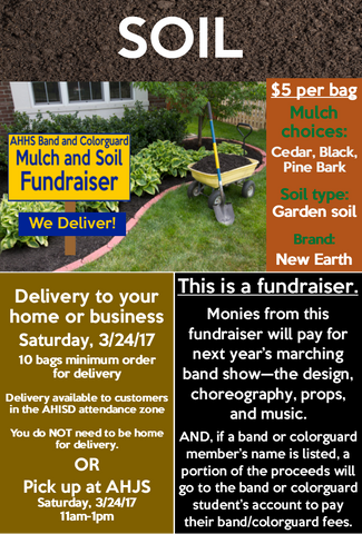 Band - SOIL Order - AH Band and Colorguard Mulch and Soil Fundraiser