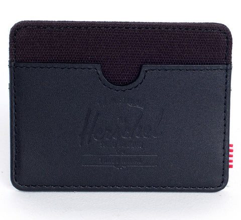 Picture of Herschel card holder Charlie Leather in black / canvas
