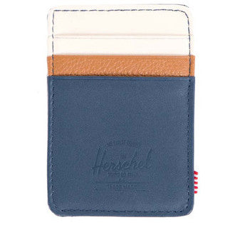 Picture of Herschel card holder 'Raven Leather' in navy / bone / tan