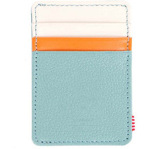 Picture of Herschel card holder 'Raven Leather' in seafoam / bone / orange