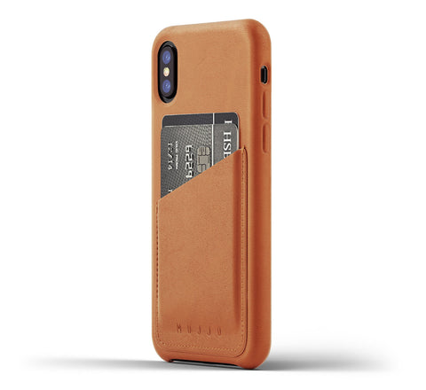 Picture of Mujjo iPhone X wallet case in tan