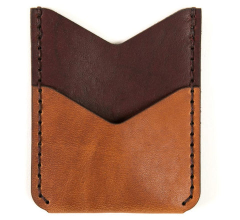 Picture of Winter Session 'Slash Wallet' card holder in tan/burgundy