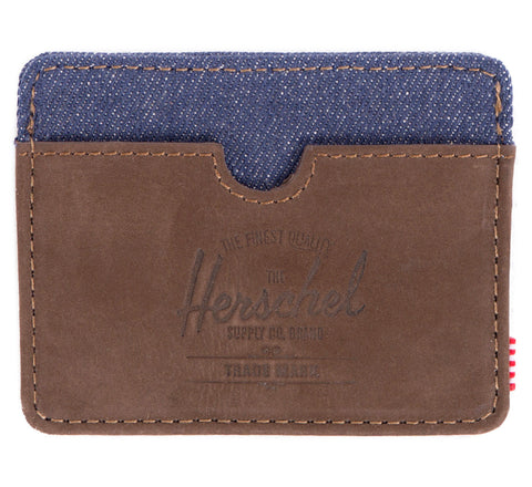 Picture of Herschel card holder 'Charlie Leather' in nubuck denim