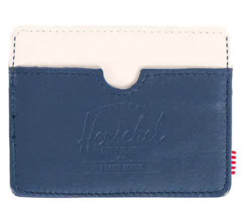 Picture of Herschel card holder 'Charlie Leather' in navy / bone / tan