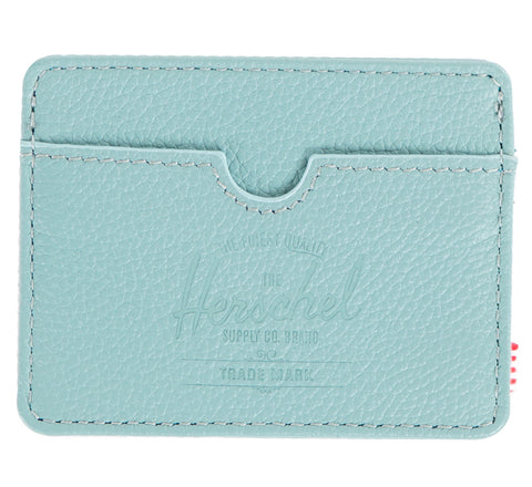 Picture of Herschel card holder 'Charlie Leather' in seafoam