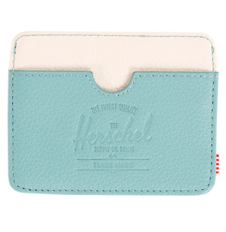 Picture of Herschel card holder 'Charlie Leather' in seafoam / bone