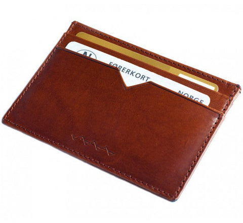 Berg & Berg Vachetta leather card holder in toffee brown