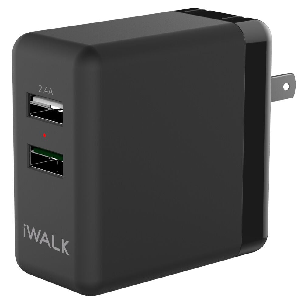 iwalk power leopard duo black wall charger