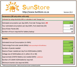 SunStore Solar System Sizing Calculator
