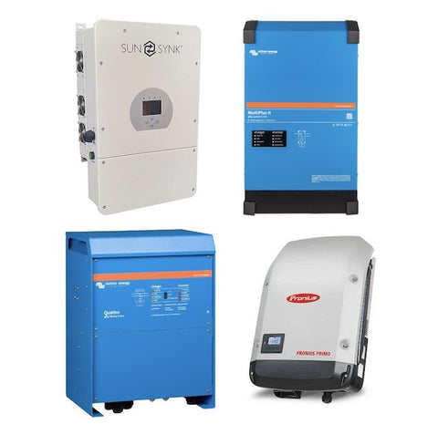 Inverters, Inverter/Chargers, Hybrid inverters, Victron Multiplus II, EasySolar and Quattro, Voltronic (Voltex) Axpert.