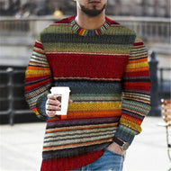 Mens Casual Color Striped Sweater