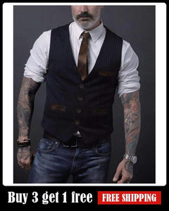 Men's Striped Pocket Vest