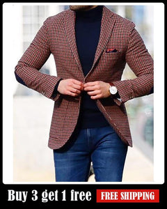 Fashion small Plaid slim blazer