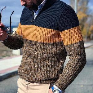 Casual Zipper Color Matching Men's Knit Sweater