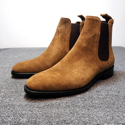 Casual men's faux suede elastic band low-heel martin boots