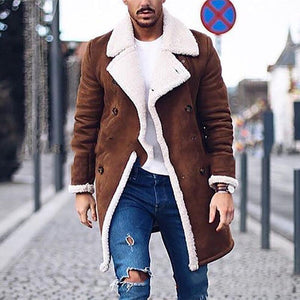 Fashion Fold Collar Solid Color Single-Breasted Warm Jacket