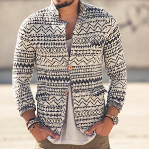 Men's Long Sleeve Printed Knit Top