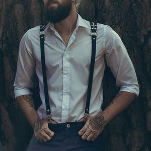 Men's Solid Color Leather Suspenders With Belt