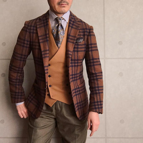 Classic Clouring Check Long Sleeves Fitted Blazer