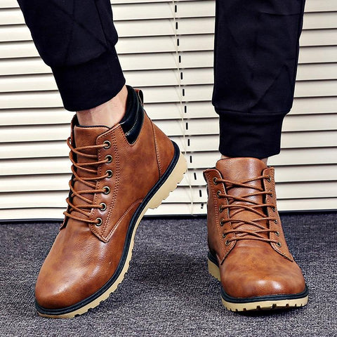 Fashion men's mixed color low-heel waterproof martin boots