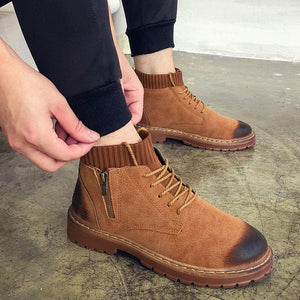 Men's fashion solid color lace Martin boots
